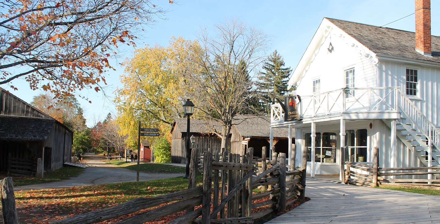 Black Creek Pioneer Village streetscape on a fall afternoon
