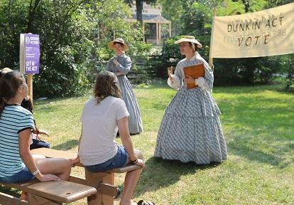 history actors engage with home school students during workshop at Black Creek Pioneer Village