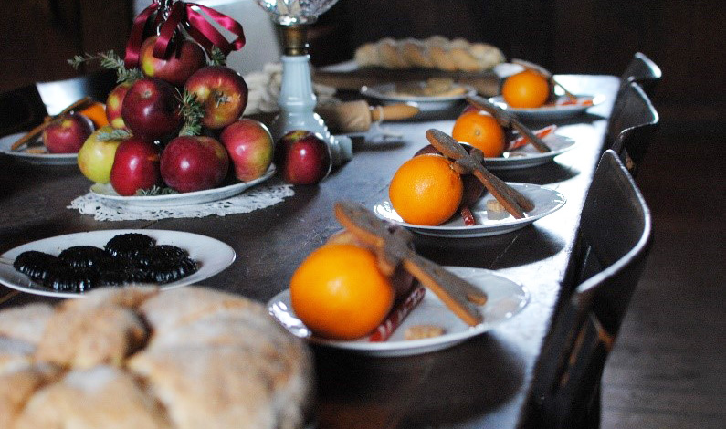festive Christmas treats laid out on a table at Black Creek Pioneer Village