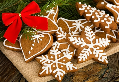 gingerbread Christmas cookies decorated with icing