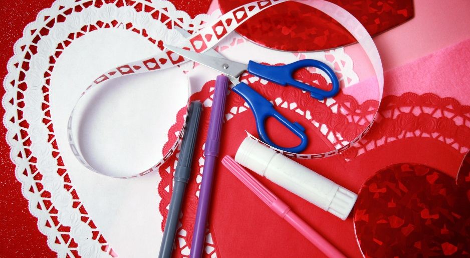 supplies for making a Victorian inspired Valentines Day card