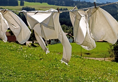 clothes hang on line to dry