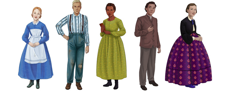 illustration of characters from the Black Creek Pioneer Village Class of 67 game