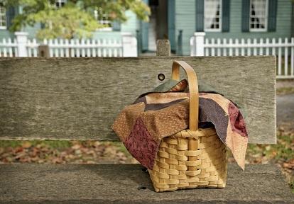 food basket on a bench outside historic home at Black Creek Pioneer Village