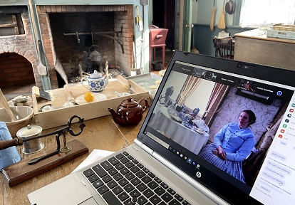 costumed educator hosts virtual party from historic building at Black Creek Pioneer Village