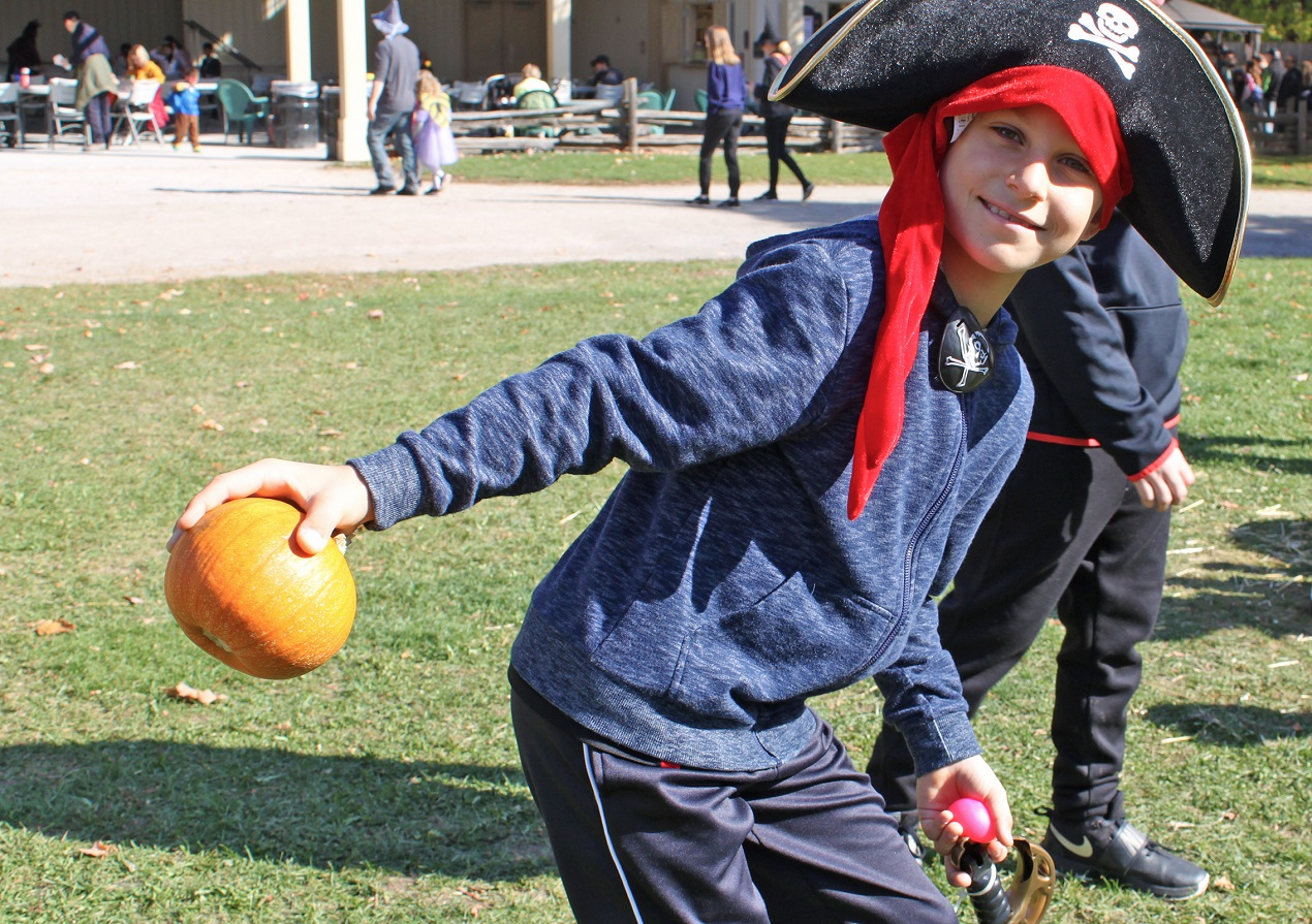 home school student in costume discovers Halloween traditions at Black Creek Pioneer Village