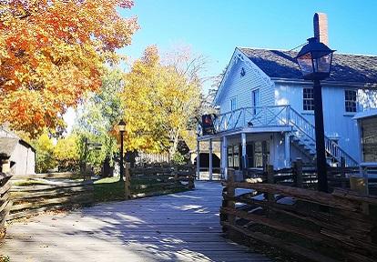 Tinsmith shop at Black Creek Pioneer Village in autumn