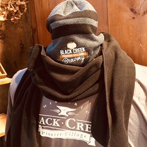 Black Creek branded hat scarf and sweatshirt
