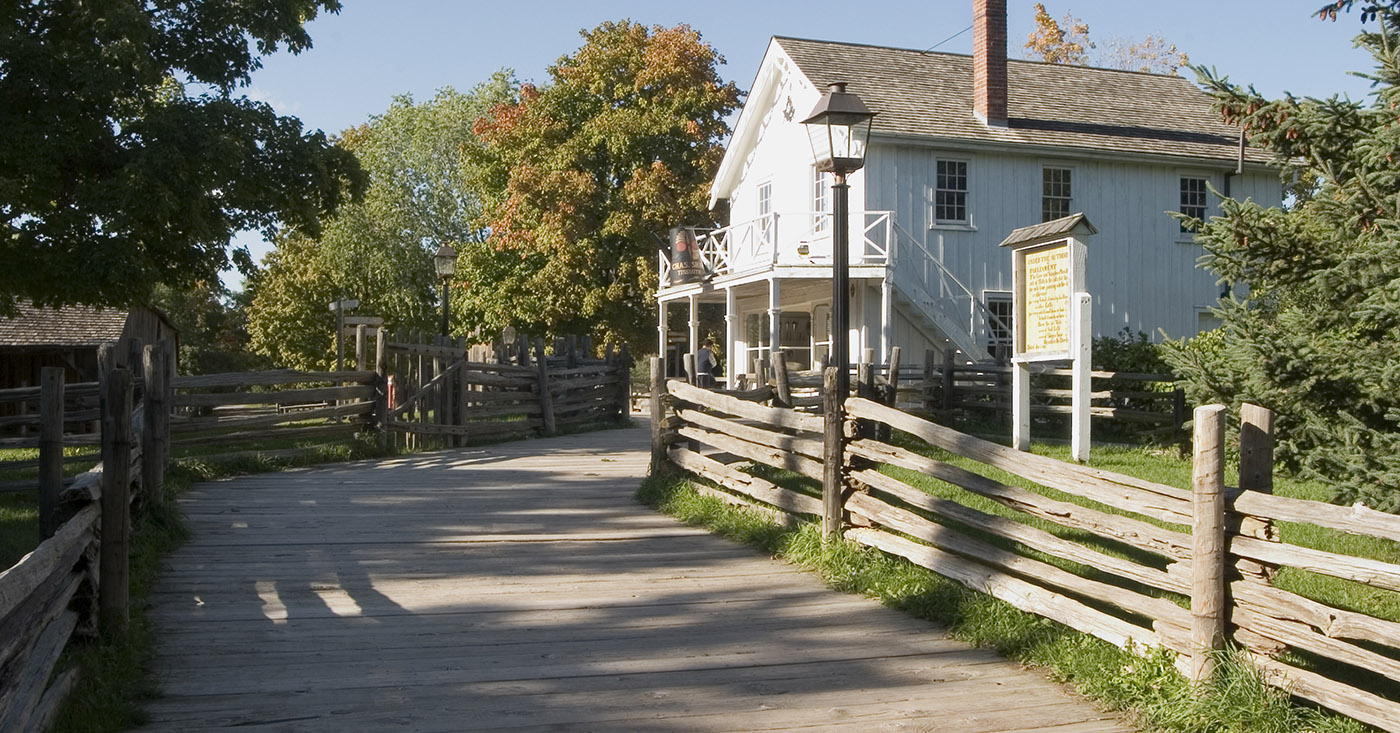 boardwalk to the Tinsmith shop at Black Creek Pioneer Village