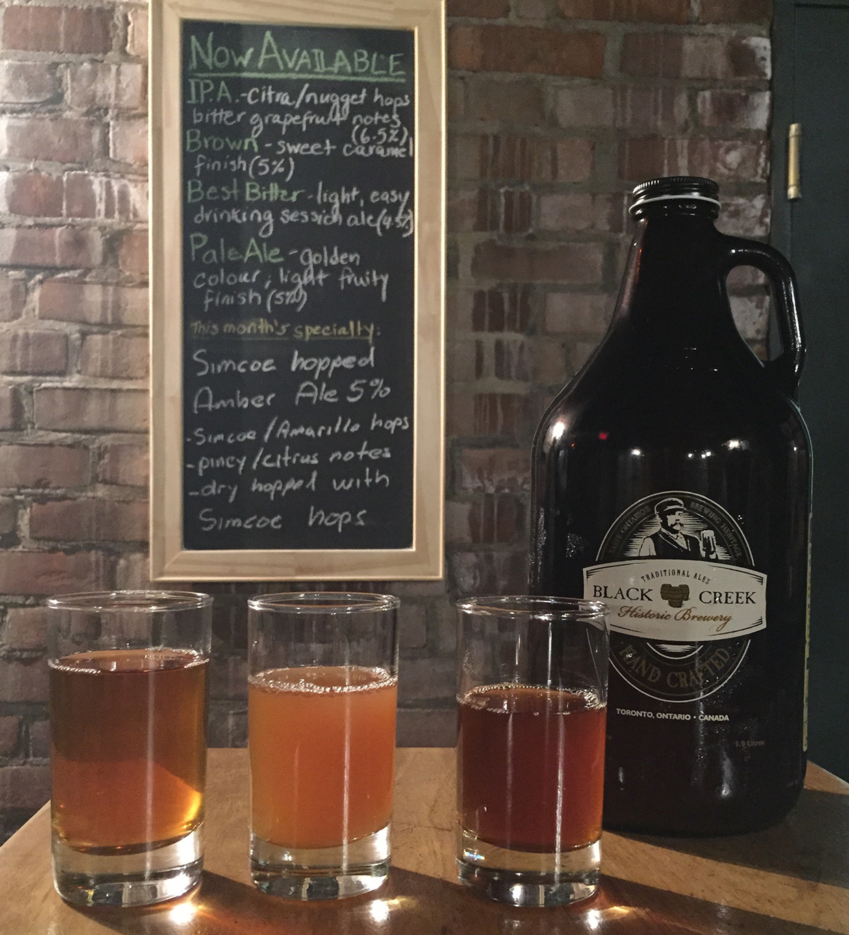 growler and beer samples at Black Creek Historic Brewery