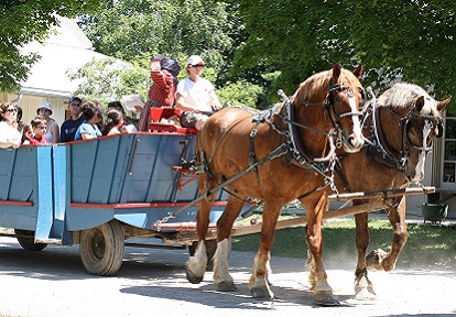 Black Creek visitors enjoy a horse drawn wagon ride during the annual Canada Day celebrations