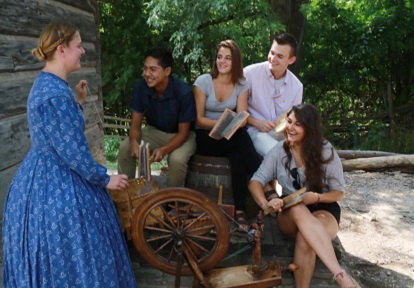 High school class learns about spinning at Black Creek Pioneer Village