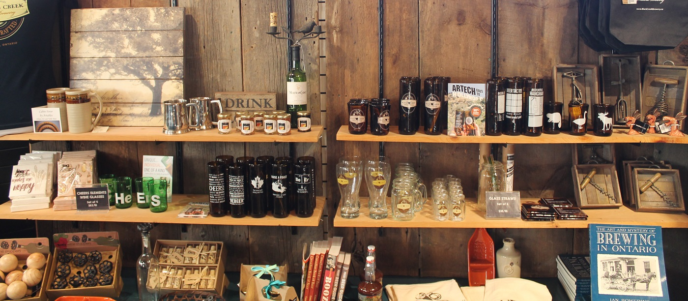 Display of brewery merchandise in the gift shop at Black Creek Pioneer Village
