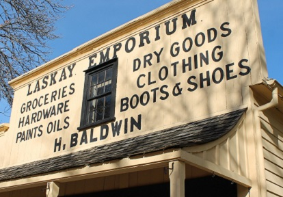 facade of Laskay Emporium at Black Creek Pioneer Village