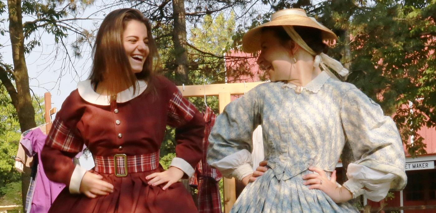teenage girls in period costume take part in the Black Creek Pioneer Village Leaders in Training program