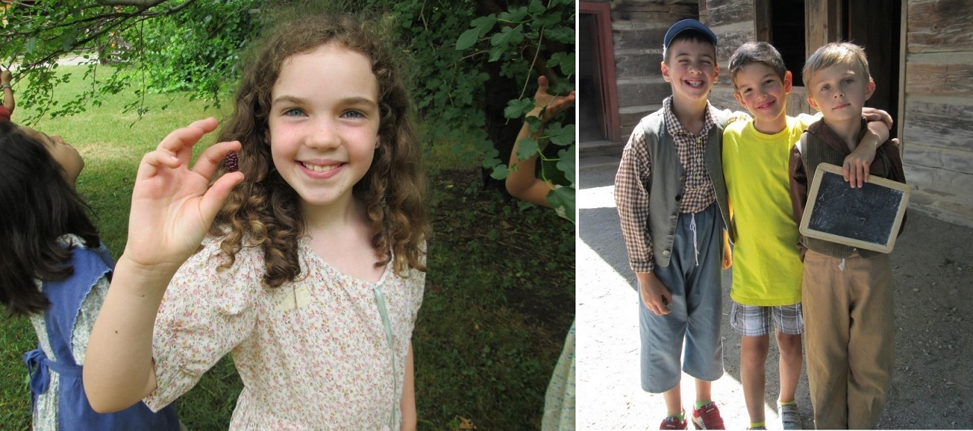 children in period clothes at Black Creek Pioneer Village senior day camp