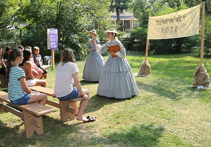 history actors re-enact a temperance rally at Black Creek Pioneer Village