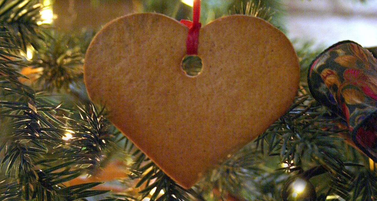 a gingerbread decoration on a Christmas tree at Black Creek Pioneer Village
