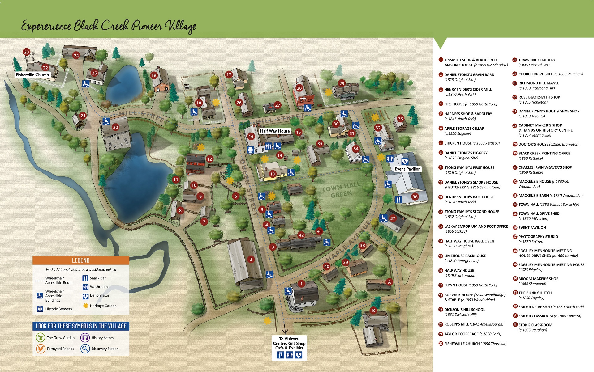 Map of Black Creek Pioneer Village