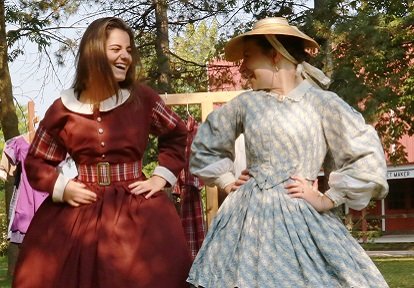 teen girl in period costume at Black Creek Leaders in Training summer day camp