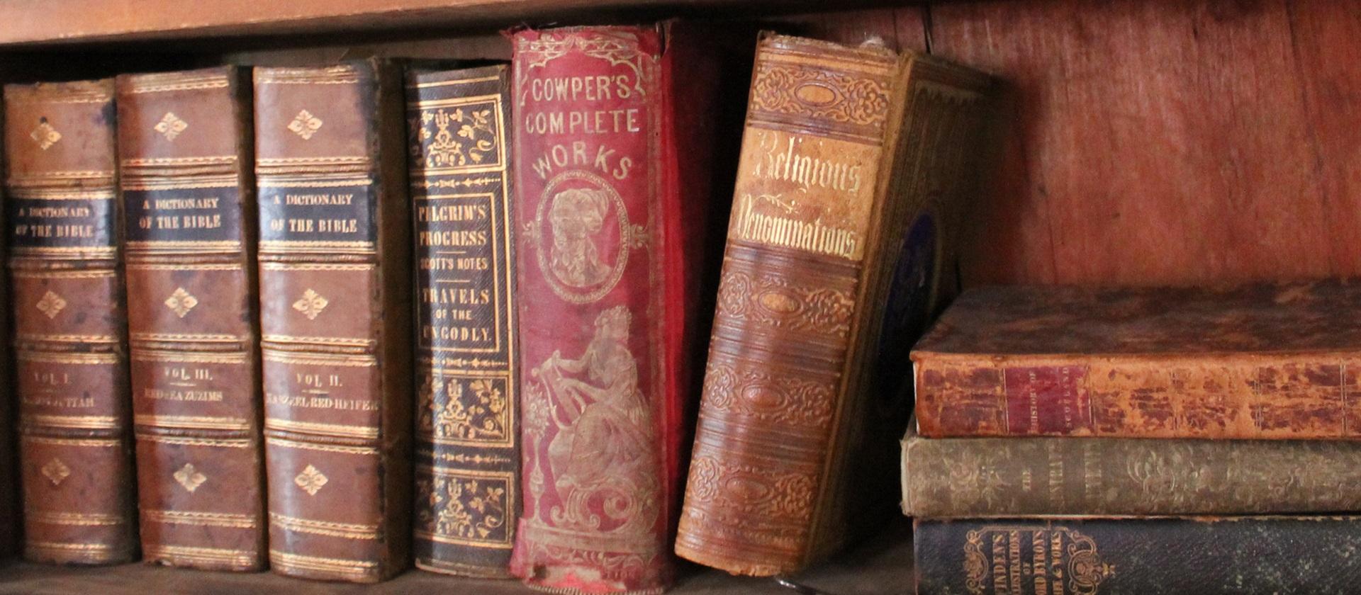 old books on a shelf at Black Creek Pioneer Village