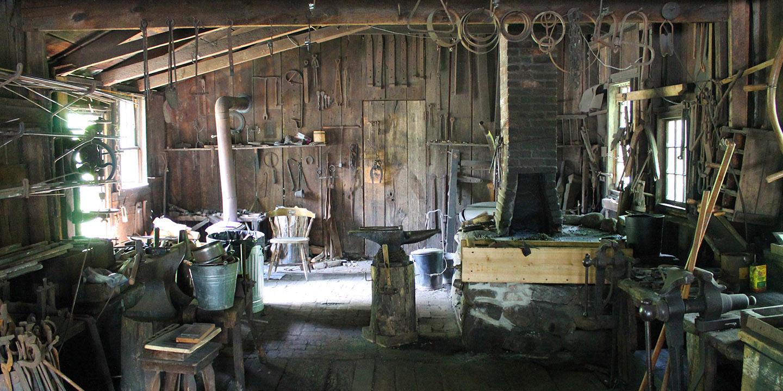 interior of blacksmith shop at Black Creek Pioneer Village