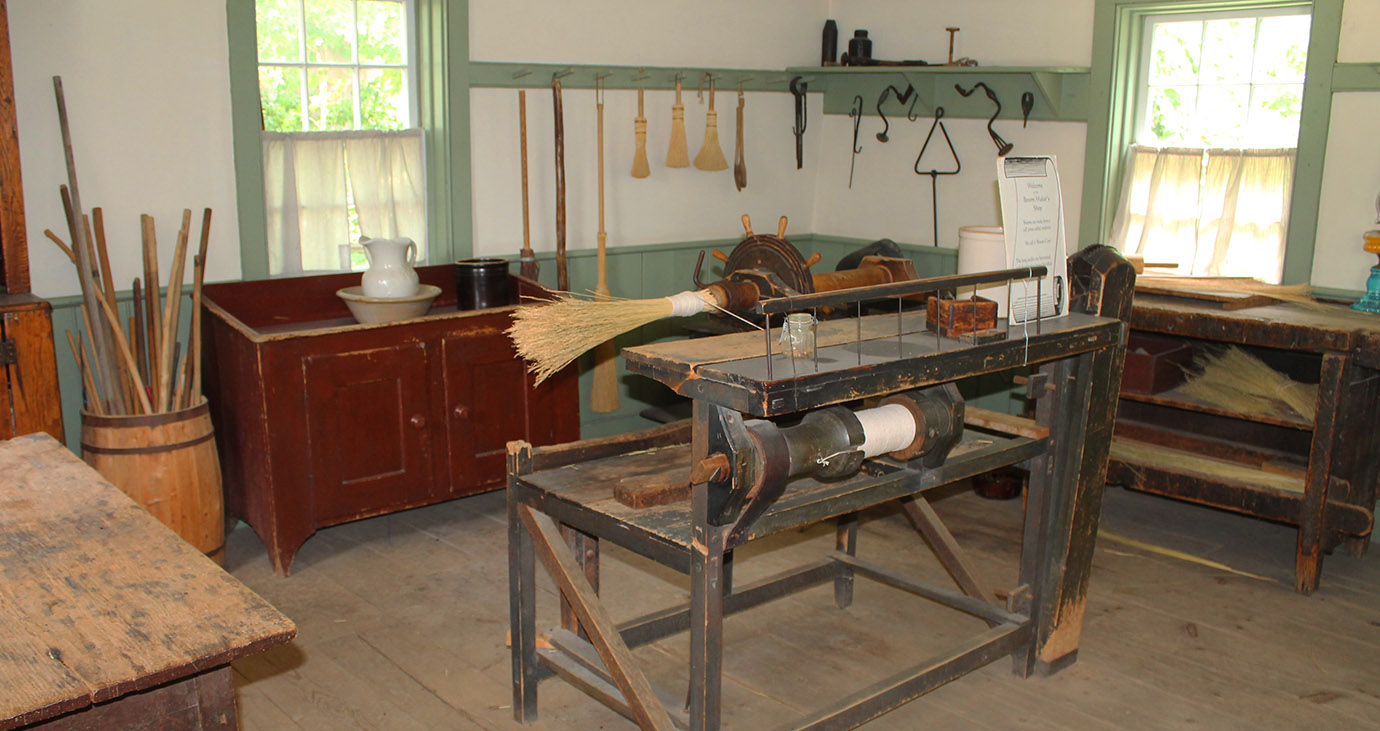 interior of Broom Makers shop at Black Creek Pioneer Village
