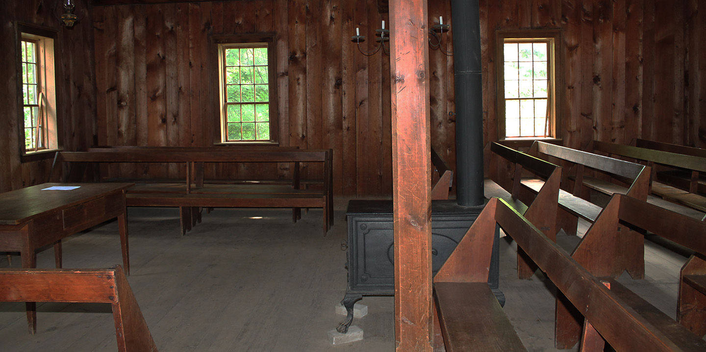 interior of Mennonite Meeting House at Black Creek Pioneer Village