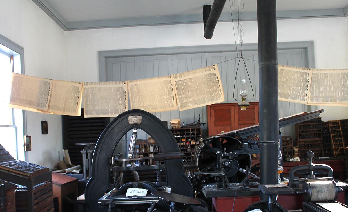 Interior of the Printing Office at Black Creek Pioneer Village