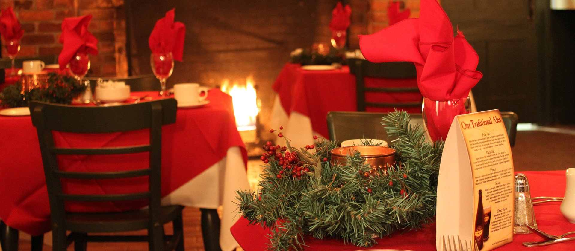 tables set for a traditional Christmas dinner at Black Creek Pioneer Village
