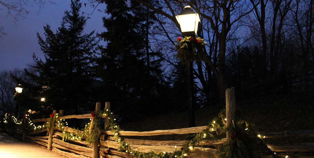 an oil lamp illuminates a pathway at Black Creek Pioneer Village