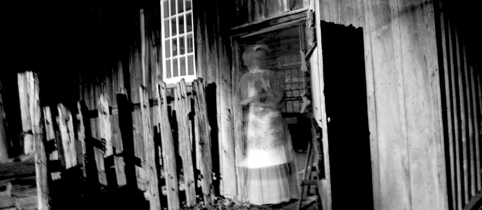 an eerie scene greets a visitor at a Black Creek Pioneer Village Ghost Walk event