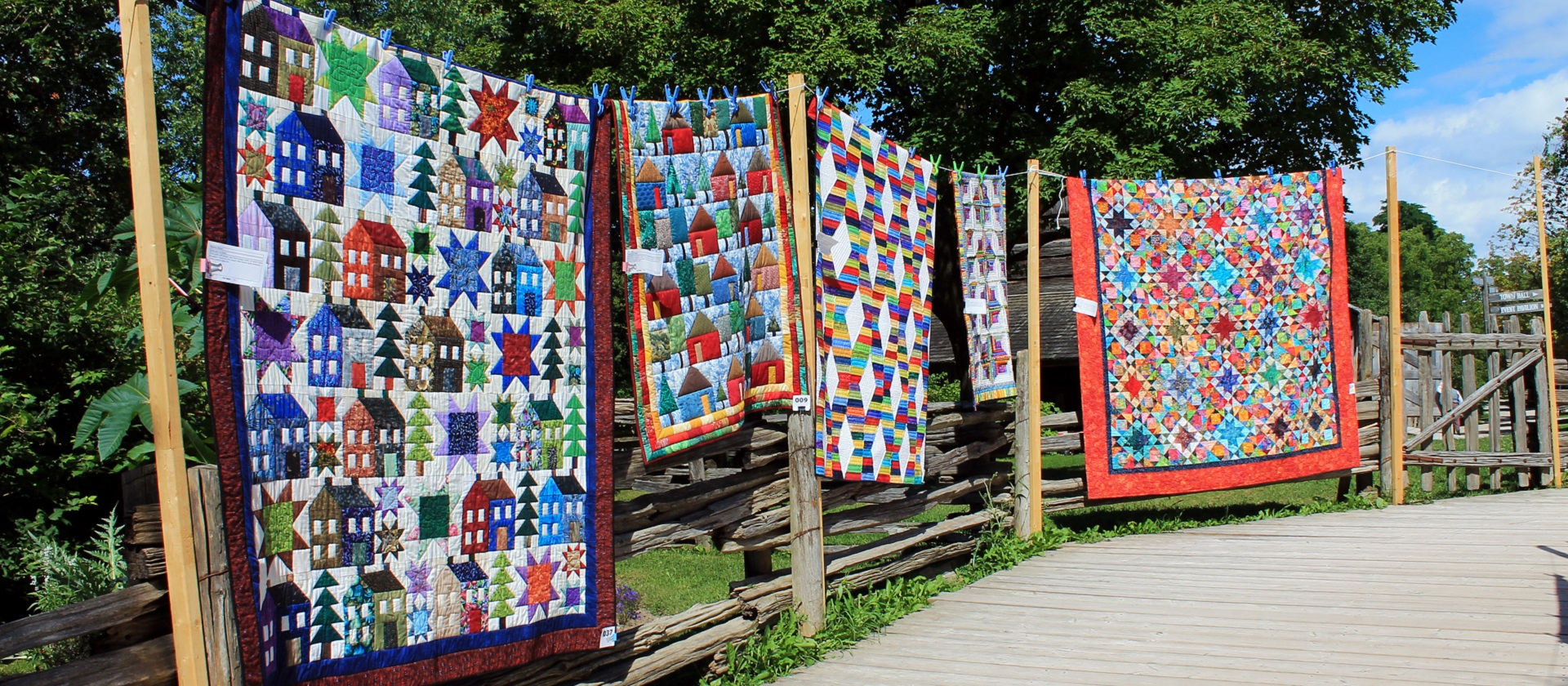 display of handmade quilts at Black Creek Pioneer Village