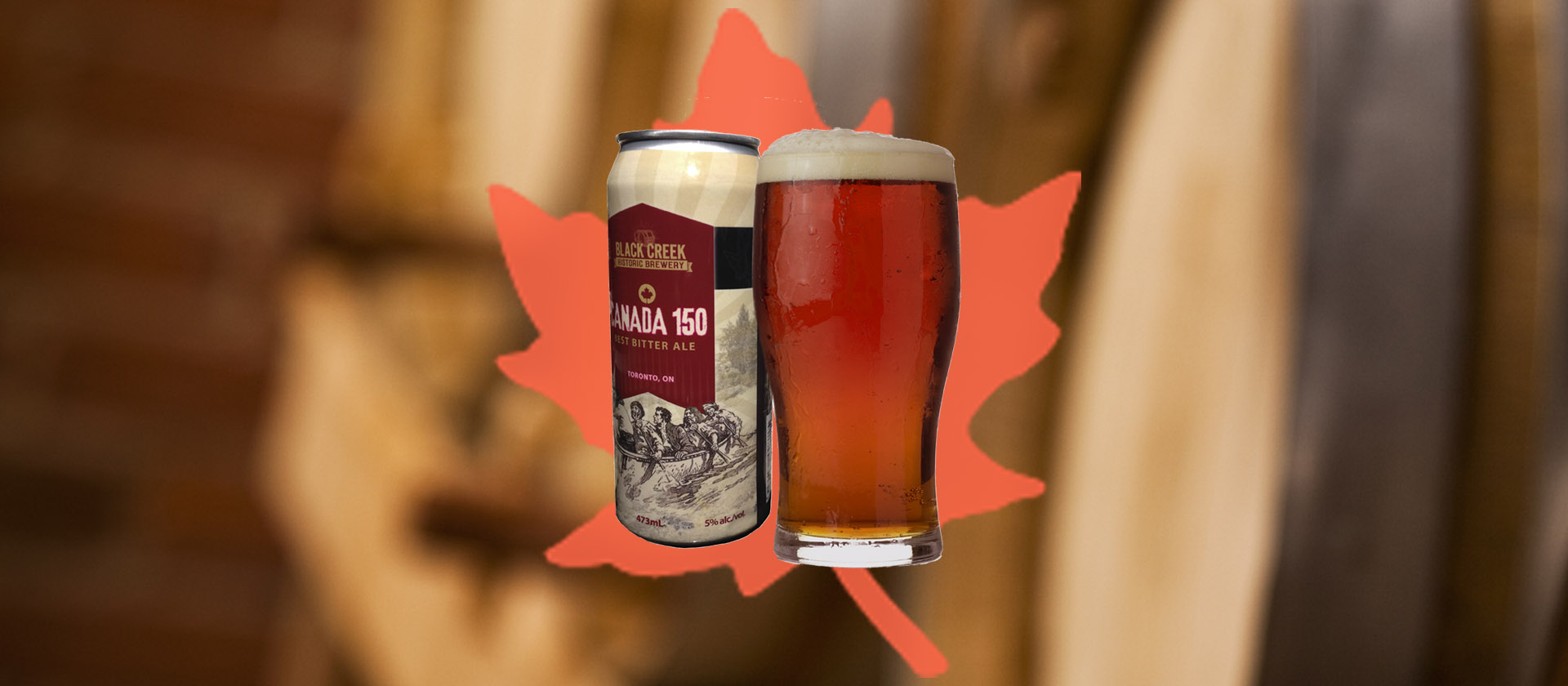can of Black Creek Brewery Canada 150 best bitter against a maple leaf backdrop