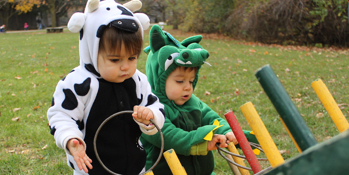 toddlers in Halloween costumes