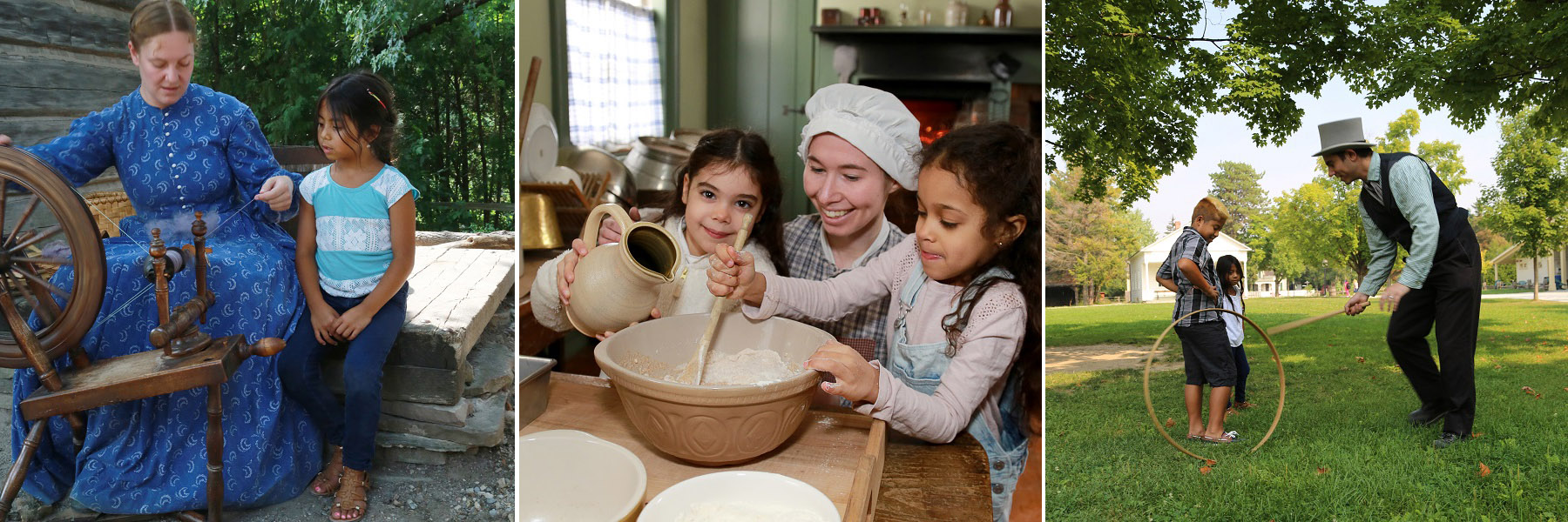 Black Creek historical interpreters engage children in various activities
