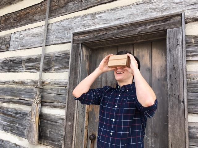 Man using Pioneer Vision VR Viewer