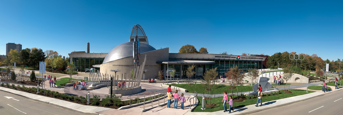 A panaramic view of the Ontario Science Centre