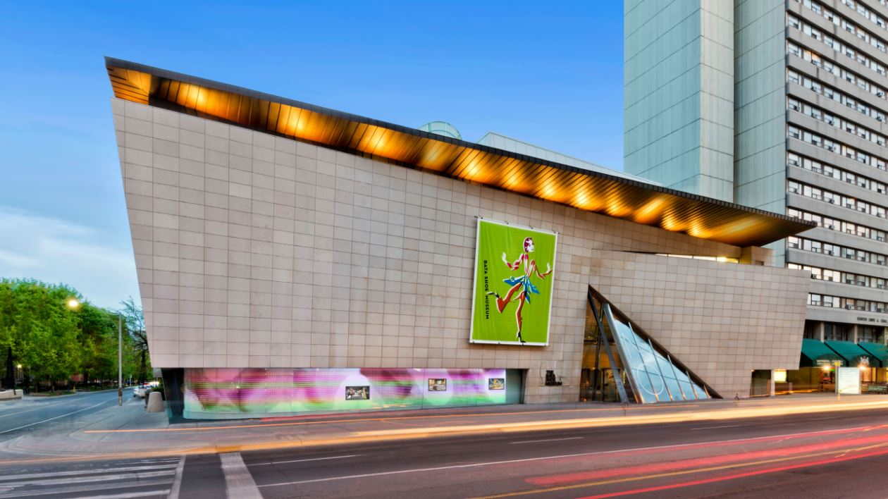 A view of the outside of the Bata Shoe Museum